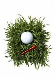 Small patch of green grass with golf ball and red tee on white background