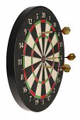 Side view of dartboard with three darts on white background