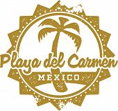 Vintage Style Playa del Carmen Mexico Vacation Stamp