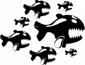 Silhouette of funny angry fishes