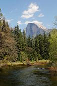 El Capitan and Merced river  in a blue sky at Yosemite national park in California
