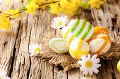 Easter eggs in nest with chamomiles blossoms, placed on wooden table