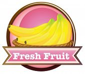 Illustration of a fresh fruit label with ripe bananas on a white background
