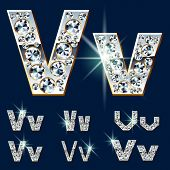 Ultimate vector alphabet of diamonds and platinum ingot. Six options. Letter v