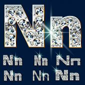 Ultimate vector alphabet of diamonds and platinum ingot. Six options. Letter n
