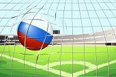 Illustration of a soccer ball with the flag of Russia hitting a goal