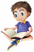 foto of storybook  - Illustration of a young man reading on a white background - JPG