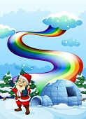 Illustration of a smiling Santa near the igloo with a rainbow in the sky