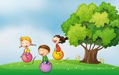 stock photo of hilltop  - Illustration of the three kids at the hilltop playing with the bouncing balls - JPG
