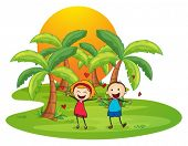Illustration of an island with a happy couple on a white background