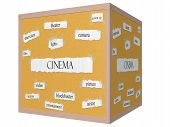 Cinema 3D Cube Corkboard Word Concept
