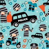 Seamless retro police men illustration boys illustration fabric background pattern in vector