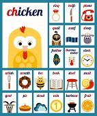Cute vector two-letter phonemes cards for the kids. Set 2.