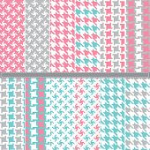 Houndstooth seamless pattern set - Illustration A set of 12 Houndstooth seamless pattern set