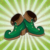 stock photo of leprechaun  - Leprechaun shoes on a striped background - JPG