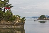 Oil Painting Stylized Photo Of Sea Landscape With Several Islets And A Red Torii Gate In Matsushima,
