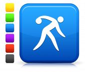 Bowling Icon on Square Internet Button Collection