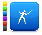Fencing Icon on Square Internet Button Collection
