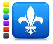 Fleur De Lis Icon on Square Internet Button Collection