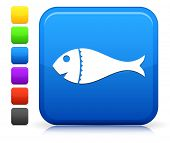 Fish Icon on Square Internet Button Collection