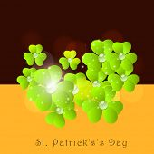 Happy St. Patrick's Day celebrations poster, banner or flyer design with Irish lucky clover leaf on