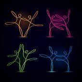 Dancing swirly line figures glowing on black background