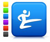 Karate Icon on Square Internet Button Collection