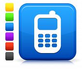Cellphone Icon on Square Internet Button Collection