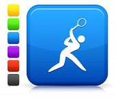 Tennis Icon on Square Internet Button Collection