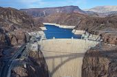 pic of hydro-electric  - Hoover Dam and Colorado river near Las Vegas Nevada - JPG