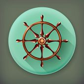 Ships wheel, long shadow vector icon