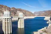 picture of hydro-electric  - Hoover Dam and Colorado river near Las Vegas Nevada - JPG