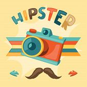 Design with photo camera in hipster style.