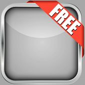Blank App Icon With Free Ribbon, Vector Illustration
