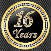 16 Years Anniversary Golden Happy Birthday Icon With Diamonds, Vector Illustration