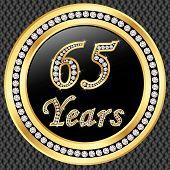 65 Years Anniversary Golden Happy Birthday Icon With Diamonds, Vector Illustration