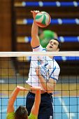 KAPOSVAR, HUNGARY - FEBRUARY 25: Andras Geiger (white 7) in action at a Hungarian National Champions