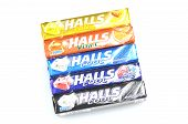 Variety of Halls cough drops