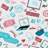 Seamless doodle social media background