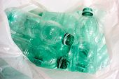 empty Green plastic bottles