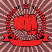 Clenched fist red poster with ribbon