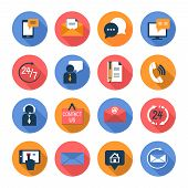 Customer care contacts flat icons set