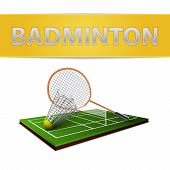 stock photo of shuttlecock  - Realistic badminton shuttlecock and racket emblem isolated vector illustration - JPG