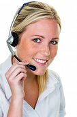 young woman with headset phone in the office in order acceptance. hotline and customer service.