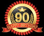 90 Years Happy Birthday Golden Label With Ribbons, Vector Illustration