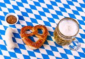 I Love Beer - Munich Oktoberfest Concept, White Blue Plaid