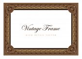 Vintage floral picture frame. Flourish design certificate template. Old Classic Antique style Border