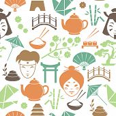 picture of geisha  - Seamless decorative japanese pattern background vector illustration - JPG
