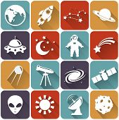 stock photo of flying saucer  - Collection of 16 space and astronomy flat icons - JPG