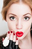 picture of shock awe  - Portrait of a super stylish fashionable beautiful young woman - JPG